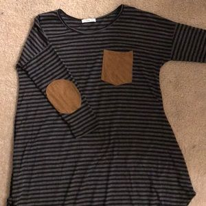 Elbow pad black and grey striped dress